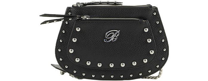Andrea Small Black Leather Shoulder Bag - Blumarine