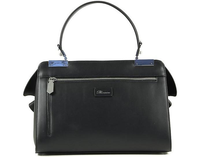 Vivienne Black Leather Top Handle Bag - Blumarine