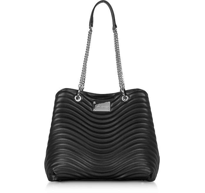 Sophie Shopping Bag in Pelle Nera Matelassé - Blumarine