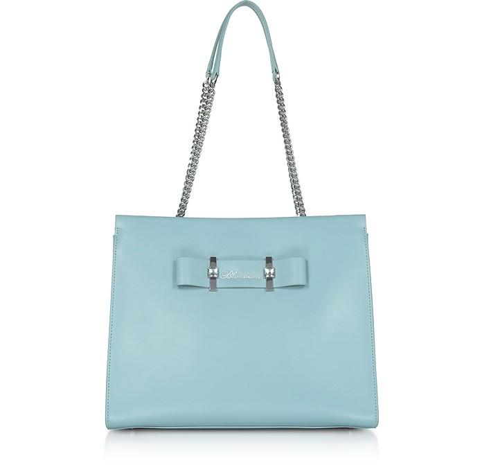 Charlotte Avio Blue Leather Top Handle Bag - Blumarine