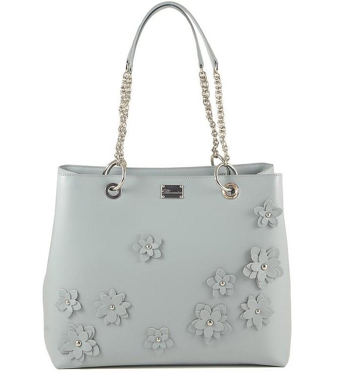 Light Blue Flower Tote Bag w/Chains - Blumarine