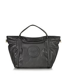 Black Studded Eco Leather Shopping Bag