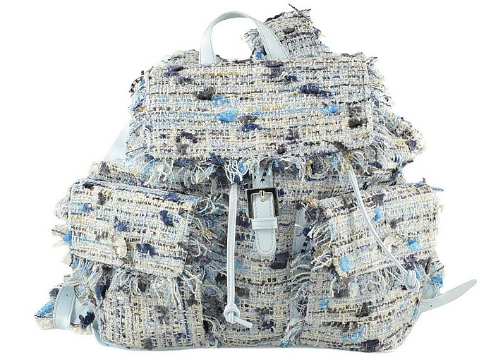 Sky Blue Fabric Women's Backpack w/two Front Pockets - Blumarine / ブルーマリン