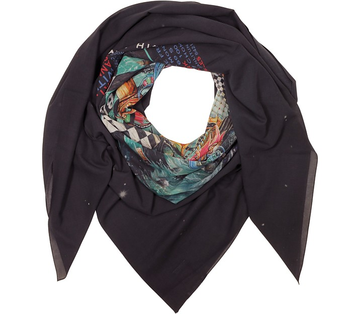 Black Cotton Printed Oversized Scarf - Balmain