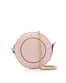 Renaissance Pink Smooth Leather Mini Disco Bag w/Embossed Blazon - Balmain