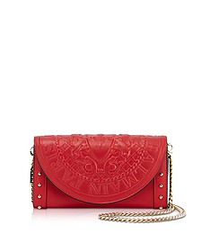 Red Smooth Leather Continental Chain Shoulder Bag w/Embossed Blazon - Balmain