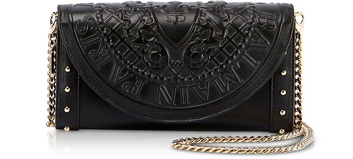 Black Smooth Leather Continental Chain Shoulder Bag w/Embossed Blazon - Balmain