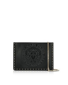 Domaine Black Smooth Leather Mini Pouch w/Embossed Blazon - Balmain