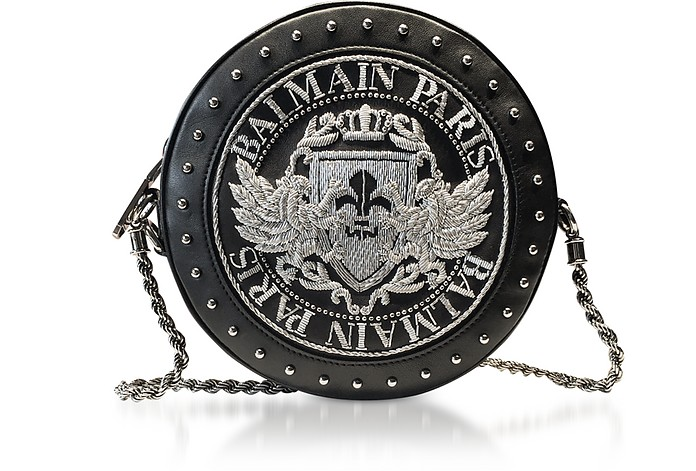 Black Soft Leather Disco Crossbody Bag w/Silver Embroidered Blazon - Balmain