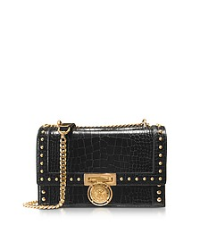 B.Box 20 Black Croco Print Leather Flap Bag w/Studs - Balmain