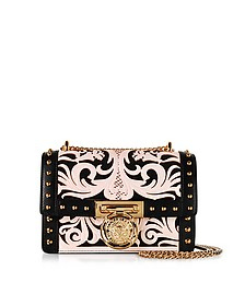 B.Box 20 Pink/Black Western Pattern Smooth Leather Flap Bag w/Studs - Balmain