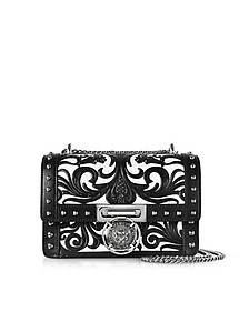 B.Box 20 Black/White Western Pattern Smooth Leather Flap Bag w/Studs - Balmain
