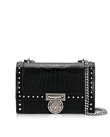 B.Box 25 Black Croco Print Leather Flap Bag w/Studs - Balmain