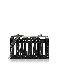 Loves Balmain Black/White Patchwork Smooth Leather Flap Bag - Balmain