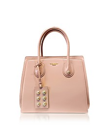 3D Powder Pink Glossy Leather Top Handle Bag - Balmain