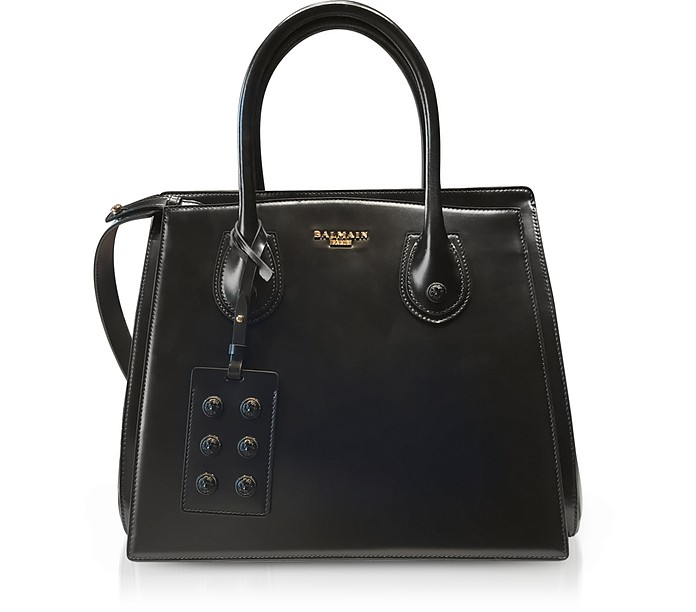 3D Black Glossy Leather Top Handle Bag - Balmain