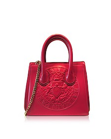 3D Red Glossy Leather Mini Top Handle Bag w/Embossed Blazon - Balmain
