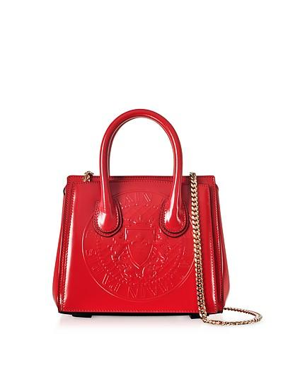 3D Red Glossy Leather Mini Top Handle Bag w/Embossed Blazon - Balmain