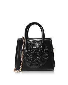 3D Black Glossy Leather Mini Top Handle Bag w/Embossed Blazon - Balmain