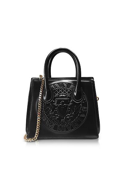 3D Black Glossy Leather Mini Top Handle Bag w/Embossed Blazon - Balmain