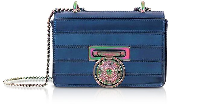 Cobalt Blue Mirrored Leather Baby Box Shoulder Bag - Balmain
