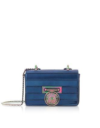 6de2fb96e Cobalt Blue Mirrored Leather Baby Box Shoulder Bag - Balmain