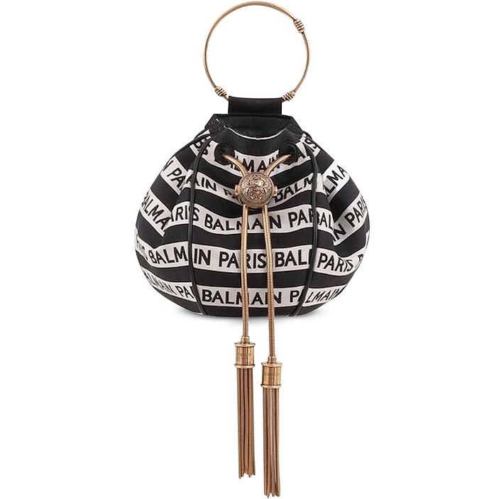 Balmain Signature Print Mini B-Bucket Bag - Balmain