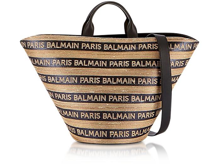 Beige/Noir Raffia Panier Plage Bag - Balmain