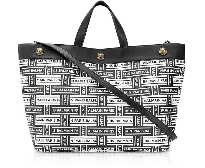 Coated Canvas and Leather Shopping Bag - Balmain