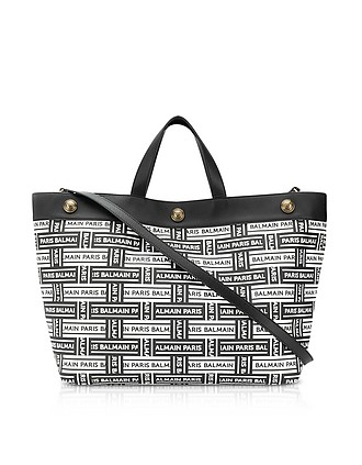 7c740ccdd9 Coated Canvas and Leather Shopping Bag - Balmain