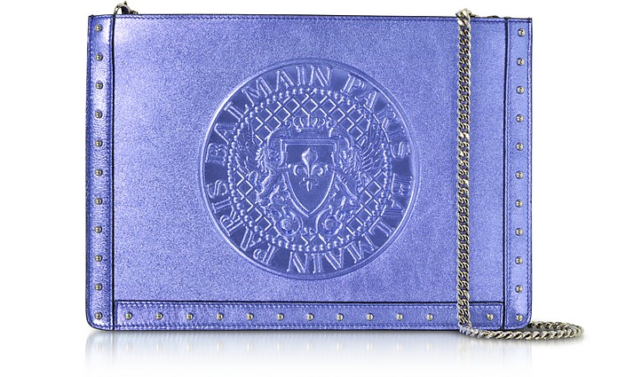 Mini Domaine Clutch aus Metallic Leder in irisblau - Balmain