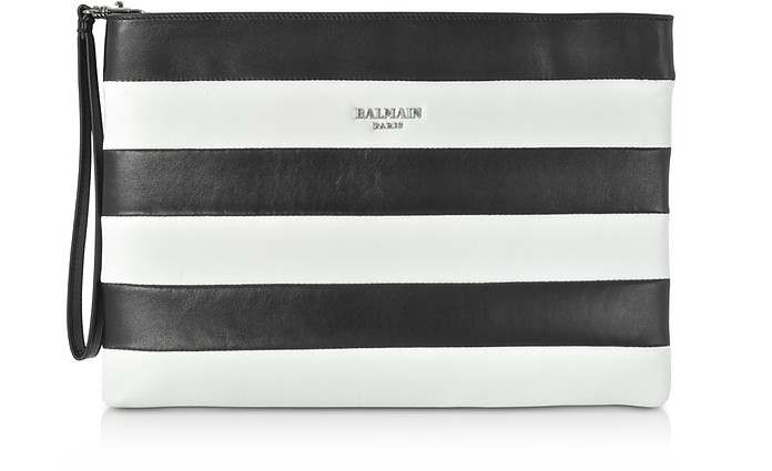 Mariniere Stripe Leather Clutch - Balmain