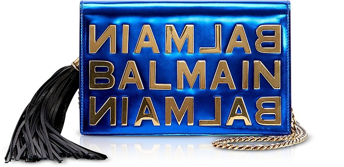 Cobalt Blue Mirrored Leather Signature Clutch - Balmain
