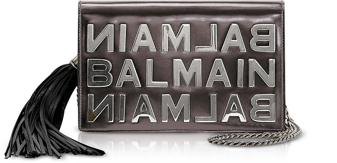 Gunmetal Mirrored Leather Signature Clutch - Balmain