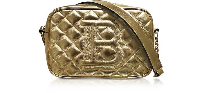 Borsa B-Camera bag in Pelle Matelassé Laminata Oro - Balmain