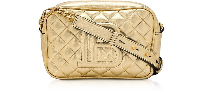 Gold Laminated Leather 18 B-Camera Bag - Balmain