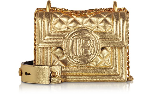 Gold Laminated & Quilted Leather 18 B-Bag - Balmain