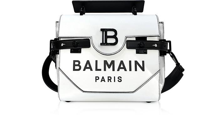 White and Black Leather 23 B-Buzz Satchel Bag - Balmain