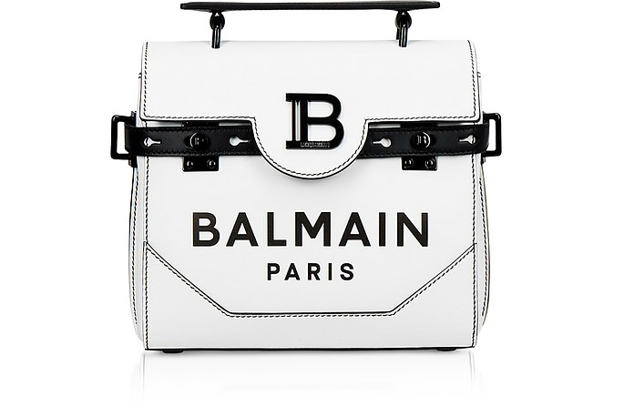 White and Black Leather 23 B-Buzz Satchel Bag - Balmain