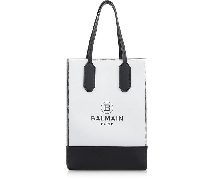 White & Black Printed Leather Shopping Bag - Balmain