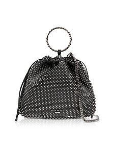 Black Studded Leather B-Link Bracelet Backpack - Balmain