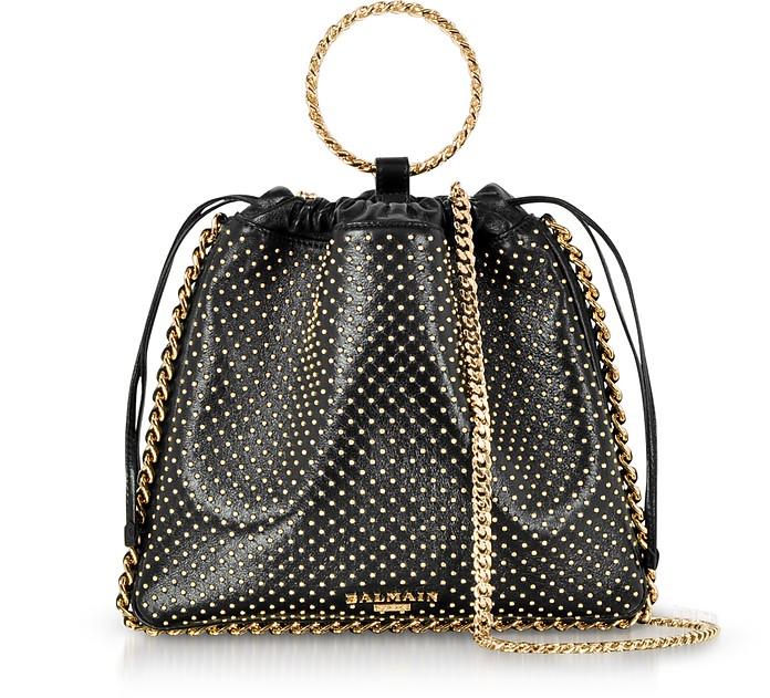 Black Studded Leather B-Link Bracelet Backpack - Balmain