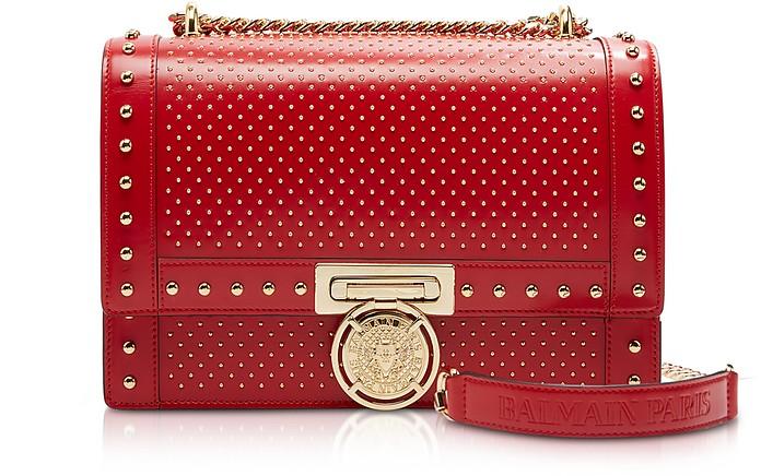 Red Studded Leather Baby BBox 25 Shoulder Bag - Balmain