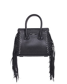 Black Studded Leather Mini 3D Fringes Leather Satchel Bag - Balmain