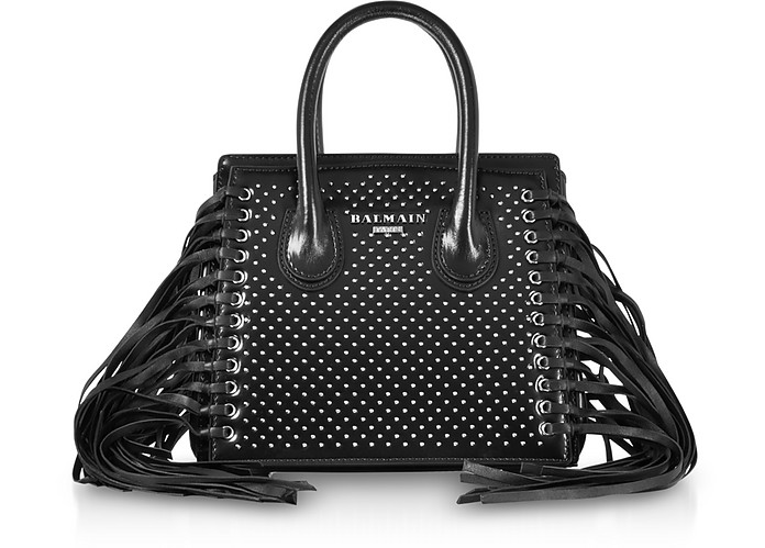 Black Studded Leather Mini 3D Fringes Leather Satchel Bag - Balmain / バルマン