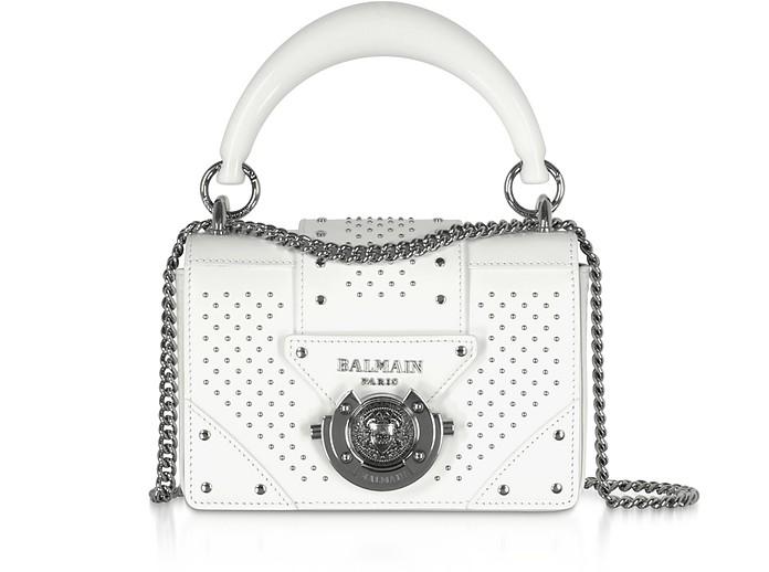 White Leather Top Handle Mini Bag - Balmain