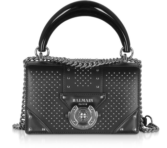 Black Studded Leather Top Handle Mini Bag - Balmain
