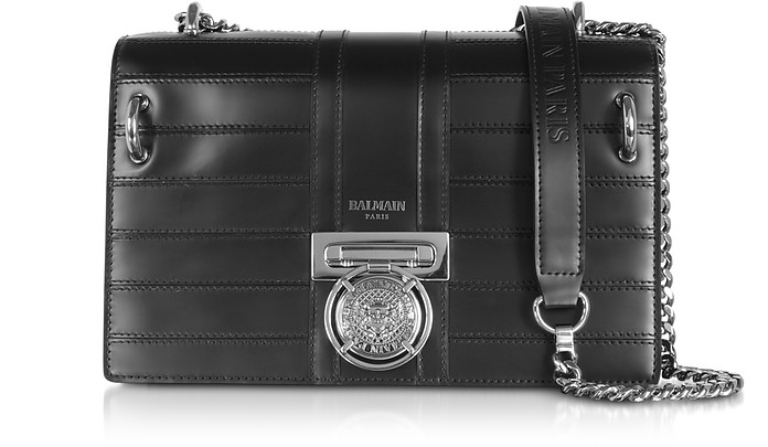 Black Leather Shoulder Bag  - Balmain