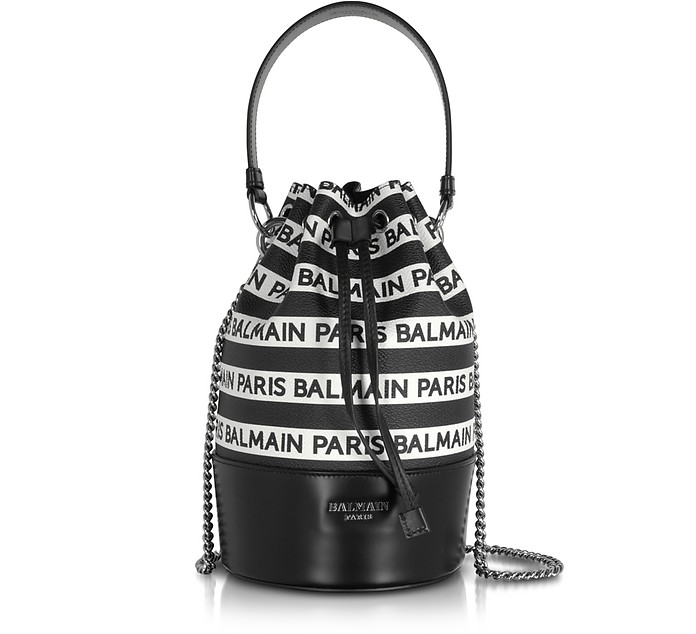 Signature Black and White Striped Bucket Bag - Balmain