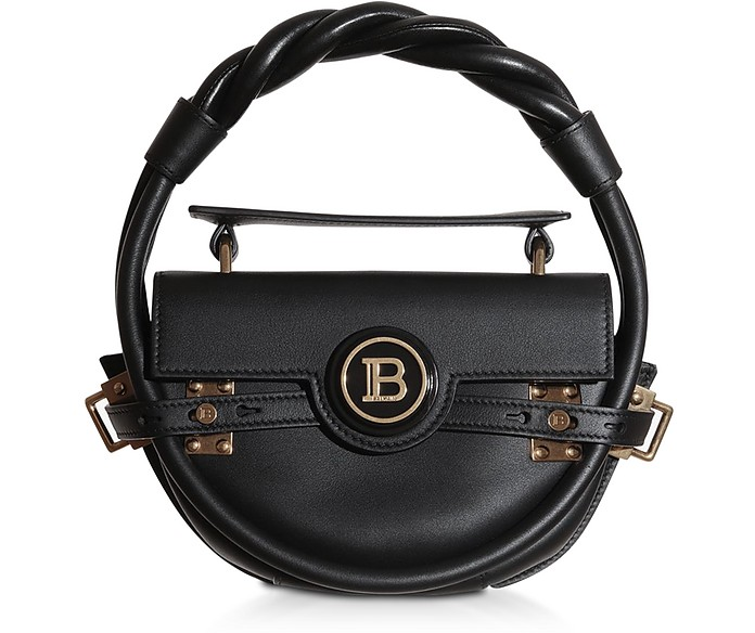 Black Leather Bbuzz Circle 21 Top Handle Bag - Balmain